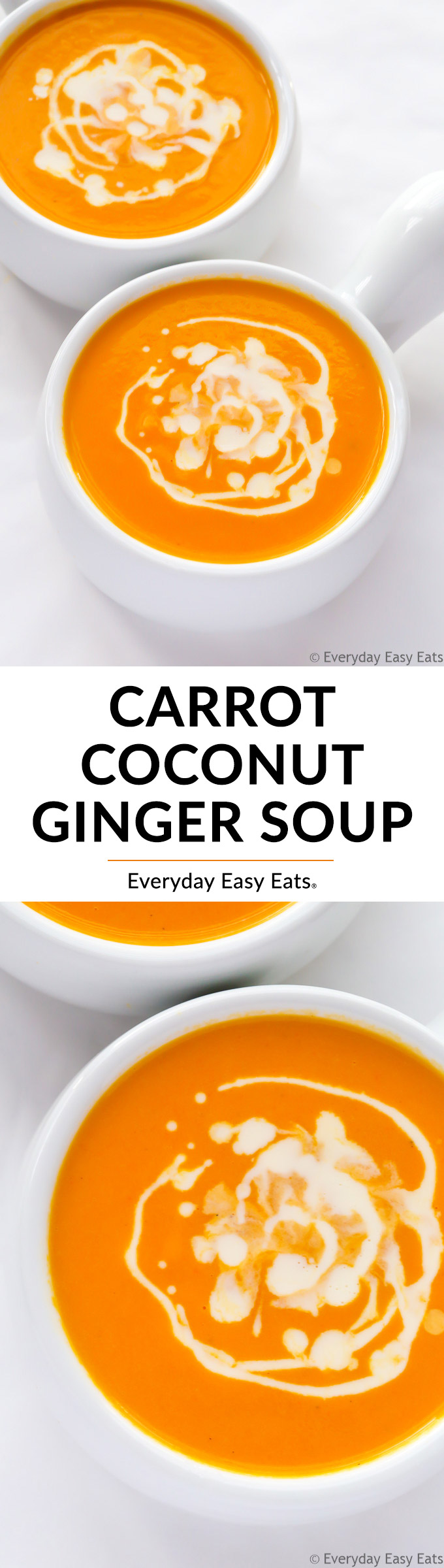 Carrot Ginger Coconut Soup - This easy & healthy soup recipe is vegan, gluten-free, dairy-free and paleo. Perfect for lunch or dinner!