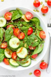 Cherry Tomato, Cucumber & Spinach Salad
