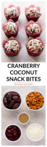 Cranberry Coconut Snack Bites - A 5-ingredient, no-bake recipe that is gluten-free, dairy-free and vegan! | EverydayEasyEats.com