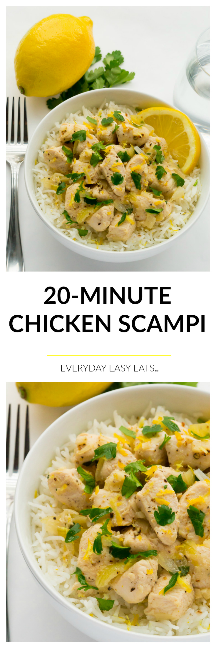 20-Minute Chicken Scampi - Perfect for busy weeknights!   Recipe at EverydayEasyEats.com