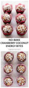 Cranberry Coconut Energy Bites - No-bake, nutritious 5-ingredient energy bites. An ideal portable snack or breakfast. | EverydayEasyEats.com