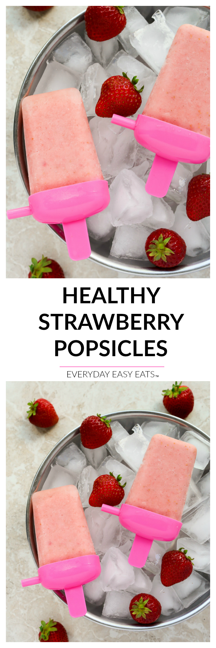 Healthy Strawberry Popsicles - 4-ingredients are all you need to make these simple, naturally sweetened frozen treats! | EverydayEasyEats.com