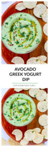 Avocado Greek Yogurt Dip - This creamy, healthy dip is perfect for entertaining and snacking. | EverydayEasyEats.com