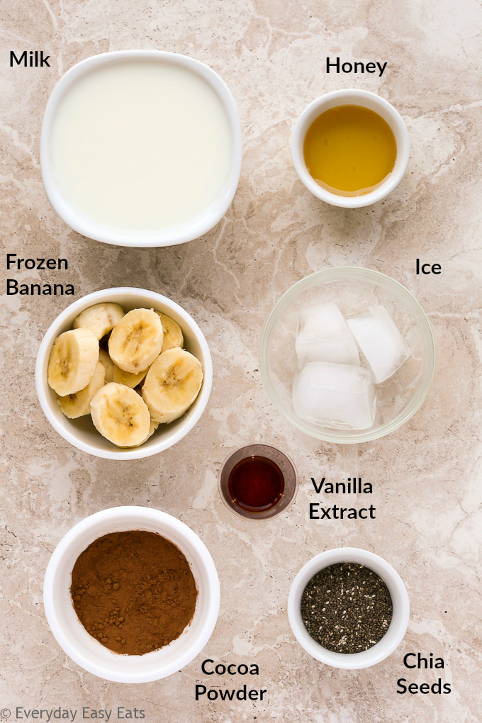 Overhead view of Healthy Chocolate Shake ingredients in white bowls with text labels on a light background.
