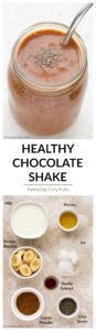 This Healthy Chocolate Shake recipe tastes like a decadent chocolate milkshake, but it is made entirely from nutritious ingredients. | EverydayEasyEats.com