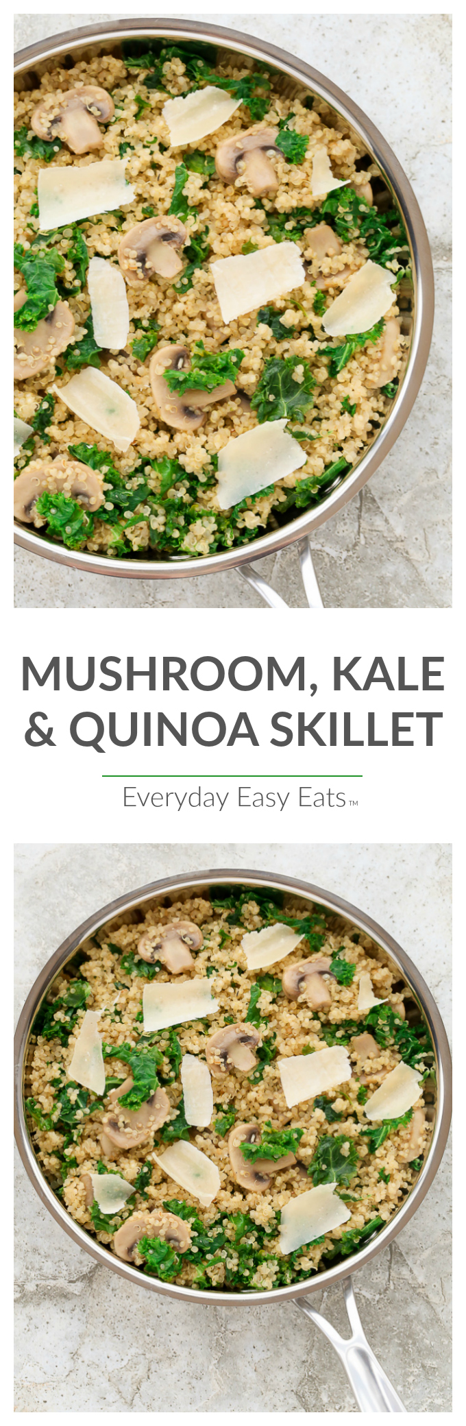 Mushroom, Kale & Quinoa Skillet - A tasty, nutritious and satisfying meatless main. | EverydayEasyEats.com