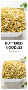 4 ingredients and 15 minutes are all you need to make this super-simple recipe for Buttered Noodles. | EverydayEasyEats.com