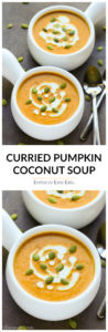 This Curried Coconut Pumpkin Soup recipe is quick, easy and creamy. It is a subtly-spicy pumpkin soup that is vegan and gluten-free. Ready in just 20 minutes! | EverydayEasyEats.com