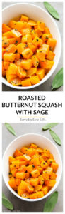 Roasted Butternut Squash with Sage - Cubes of butternut squash roasted to perfection with olive oil, fresh sage and garlic. A healthy and delicious fall side that is naturally paleo and vegan. | EverydayEasyEats.com