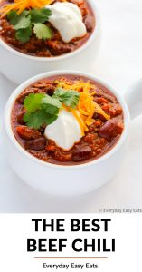 Overhead view of Ground Beef Chili in a white bowl on a white background with title text overlay.