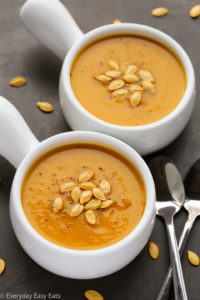This classic Butternut Squash Soup recipe is a fall and winter favorite! A silky, comforting soup that makes a perfect light and healthy meal. | EverydayEasyEats.com