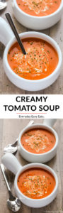 This quick and easy Creamy Tomato Soup recipe is perfect for lunch or dinner! | EverydayEasyEats.com