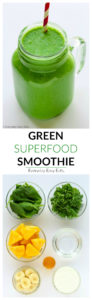 This nourishing Green Superfood Smoothie is the perfect way to start your day. A delicious, energizing shake made with kale, spinach, pineapple, banana, Greek yogurt and honey! | EverydayEasyEats.com