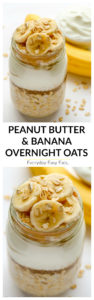 Simple peanut butter banana overnight oats made with just 7 ingredients and 5 minutes of prep time. | EverydayEasyEats.com