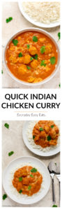 This Quick Indian Chicken Curry recipe is easy, spicy and perfect for busy weeknights. | EverydayEasyEats.com