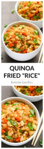 """Quinoa Fried """"Rice"""" - A healthier spin on a takeout favorite! A super easy recipe that requiries only 30 minutes to make! 