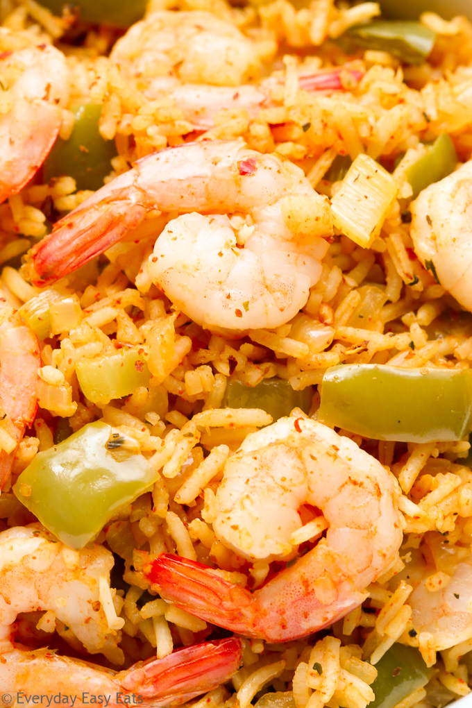Close-up overhead view of Cajun Shrimp and Rice.