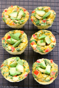 Overhead view of Breakfast Egg Muffins cooling a on wire rack set above a dark background.