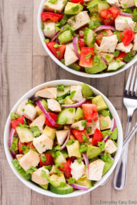 Overhead view of two bowls of Chicken Avocado Salad on a beige background with forks on the side.
