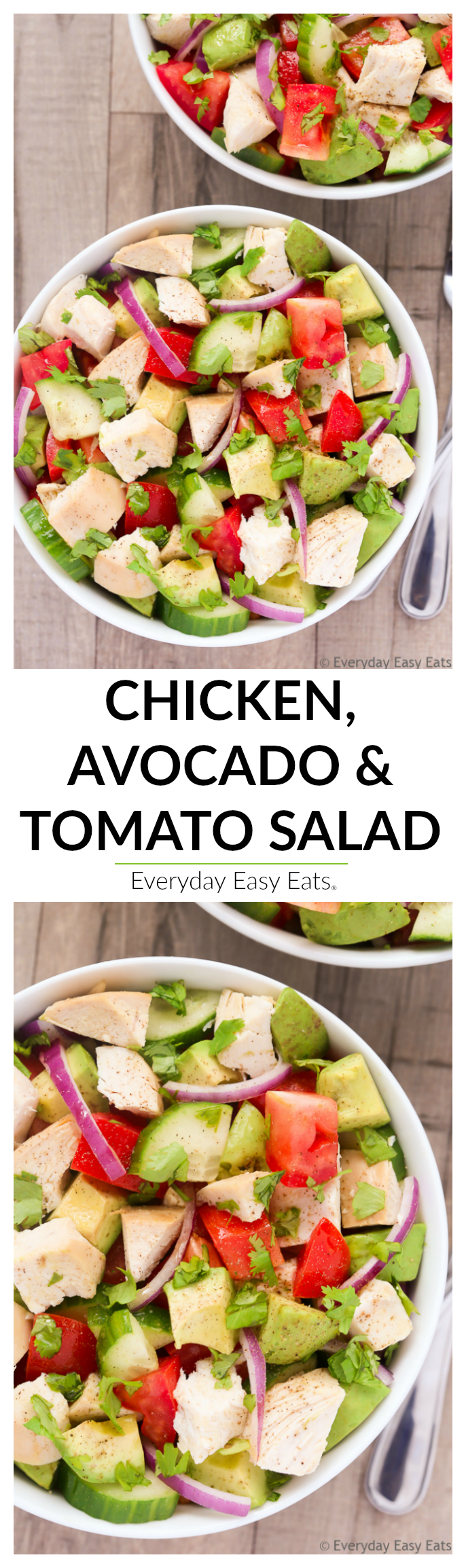Chicken Avocado Salad - This easy & healthy salad recipe is ideal for a keto or low-carb diet. Perfect for lunch, dinner or meal prep!