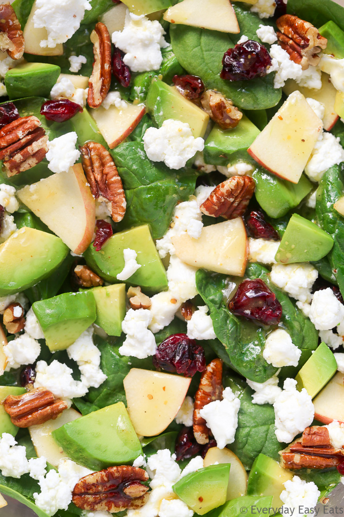 Zoomed-in overhead view of Apple Avocado Spinach Salad.