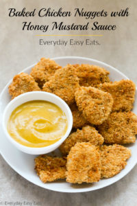 Baked Chicken Nuggets with Honey Mustard Sauce Recipe | EverydayEasyEats.com