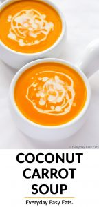 Coconut Carrot Soup image with title text overlay.