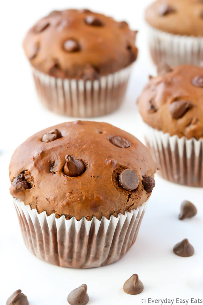 Overhead view of Double Chocolate Muffins on a white background.