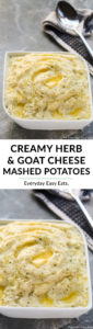 Creamy Herb and Goat Cheese Mashed Potatoes | Recipe at EverydayEasyEats.com