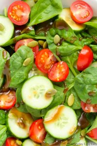 Close-up overhead view of Cherry Tomato and Spinach Salad