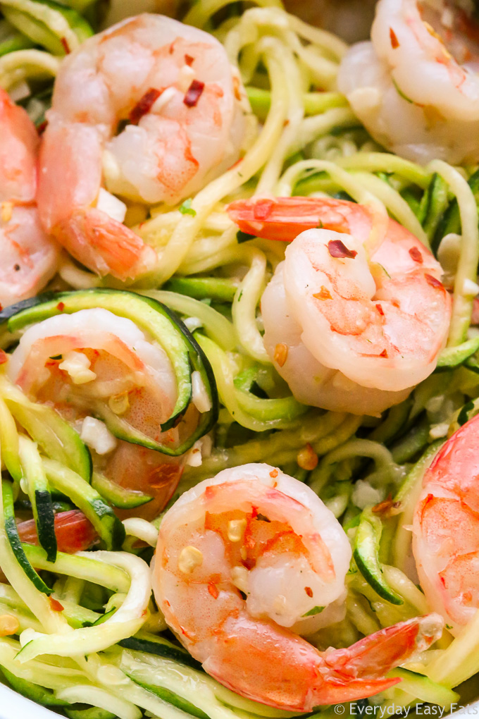Very close-up overhead view of Garlic Shrimp with Zucchini Noodles.