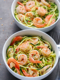 Keto Zucchini Noodles with Garlic Shrimp