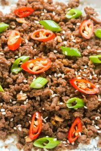 Close-up overhead view of Korean Ground Beef and Rice