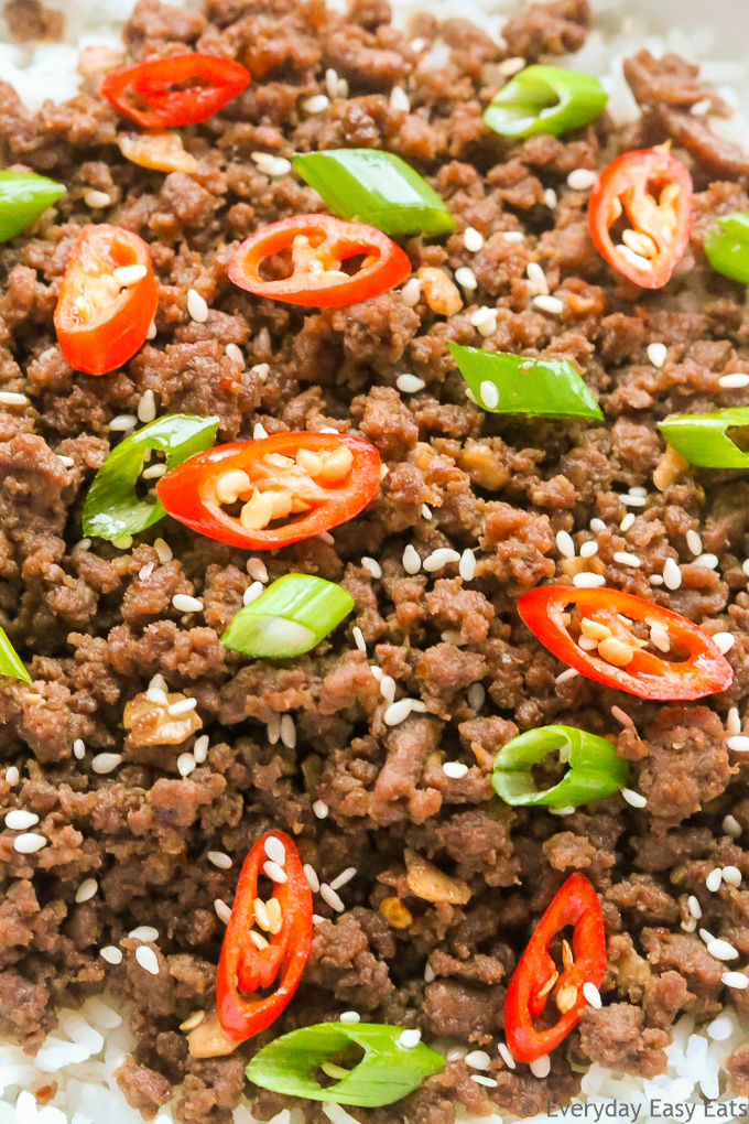 Very close-up overhead view of Bulgogi Ground Beef to show texture