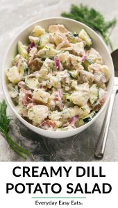 This Creamy Dill Potato Salad recipe is a quick and easy cold side dish. It is the best homemade potato salad recipe! #easyrecipe #healthy #potatosalad
