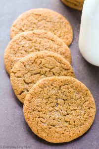 Close-up overhead view of Ginger Molasses Cookies on a dark background.