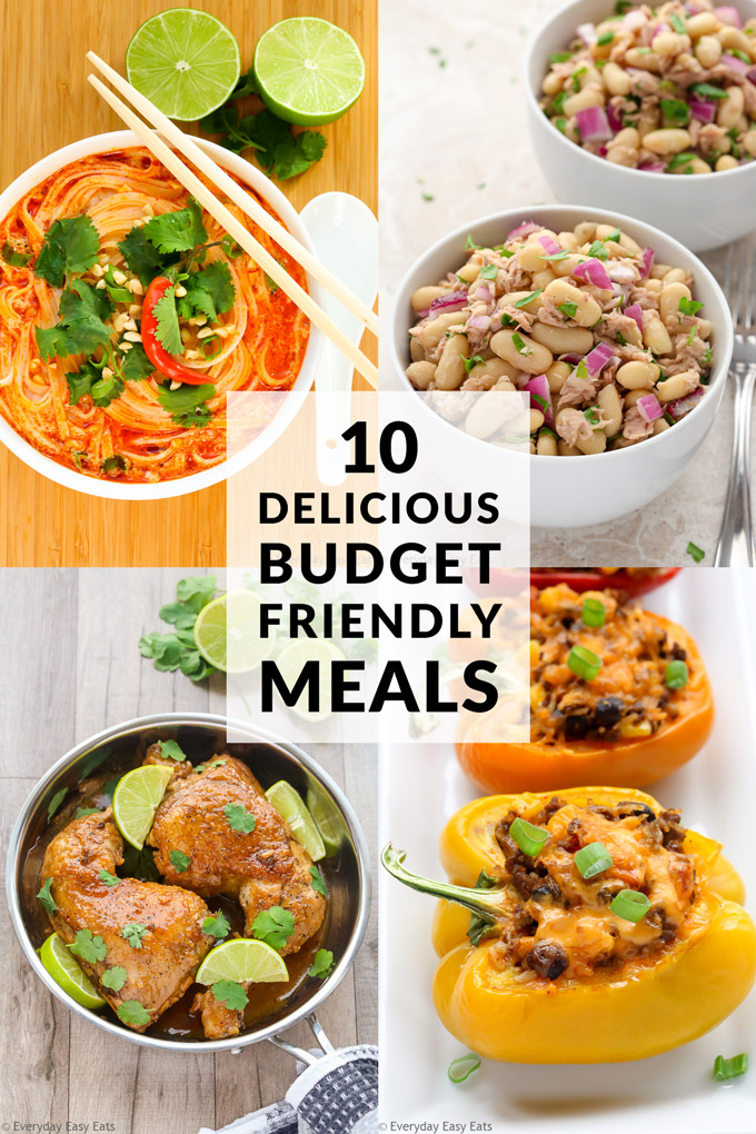 10 Delicious Budget-Friendly Meals: Meal photo collage with title text overlay.