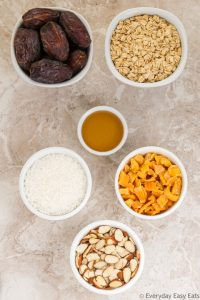 Overhead view of ingredients for Mango Coconut Granola Bars