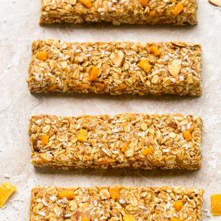 Overhead view of Mango Coconut Granola Bars