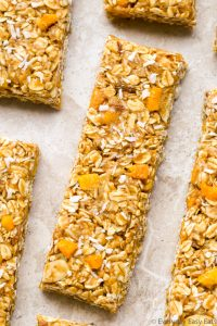 Close-up overhead view of Mango Coconut Granola Bars
