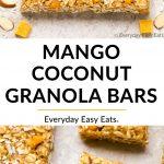 Collage of Mango Coconut Granola Bars