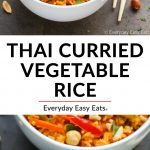 Collage of Thai Curried Vegetable Rice with Text