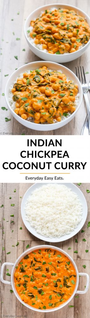 This Indian Coconut Chickpea Curry recipe is quick, easy and perfectly spicy!