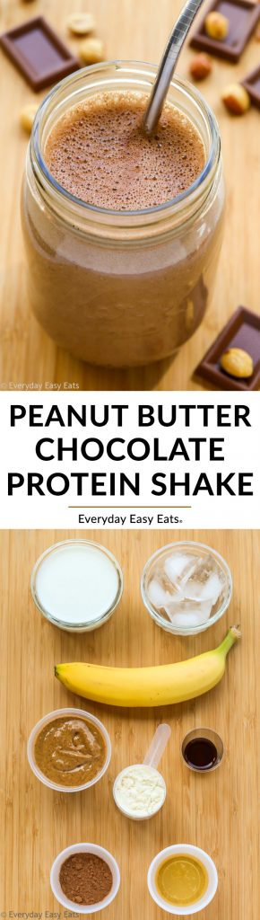 Collage of Peanut Butter Chocolate Protein Shake with title text