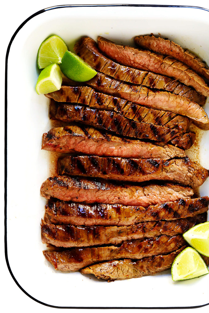 Healthy Grilled Meat Recipes for Summer: Overhead view of Mexican Carne Asada in a white serving plate.