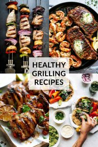 Healthy Grilled Meat Recipes for Summer Collage with title text overlay
