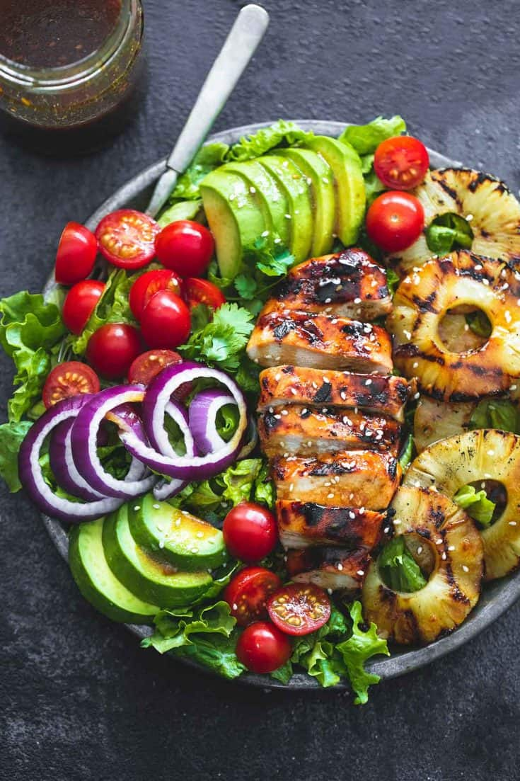Healthy Grilled Meat Recipes for Summer: Overhead view of Grilled Teriyaki Chicken Salad in a serving bowl.