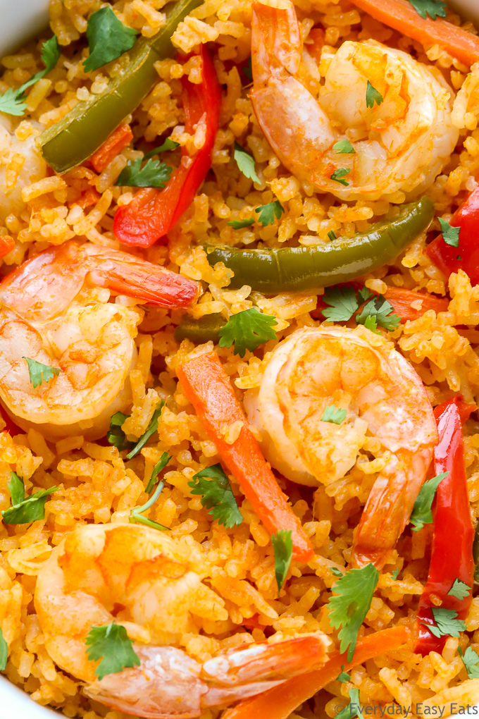 Easy Asian Rice Recipes for Dinner: Very close-up overhead view of Thai Coconut Curry Shrimp and Rice