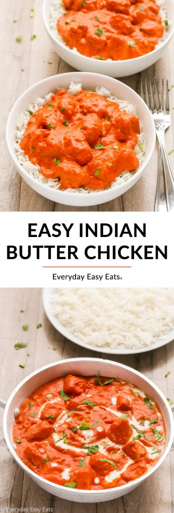 Easy Indian Butter Chicken photo collage with title text overlay.