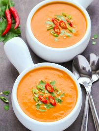 Spicy Thai Pumpkin Soup (Keto, Vegan, Gluten Free)